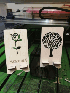 Laser Cut Wood Decor Tree Phone Stands CDR File