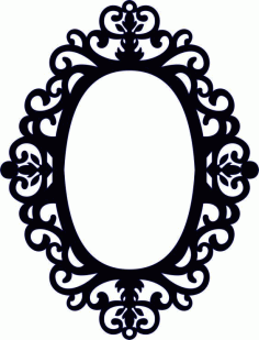 Laser Cut Wood Mirror Floral Frame Free Vector DXF File