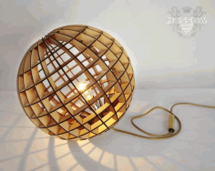 Laser Cut Wood Spherical Lamp Laser Cut DXF File