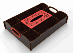 Laser Cut Wooden Candy Dried Fruit Tray With Napkin Box Sealed Nuts Plate Snack Dish Storage Box Free DXF Vectors File