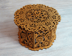 Laser Cut Wooden Decorative Octagon Gift Box Jewelry Storage Box CDR File