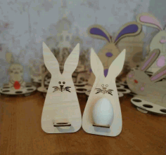 Laser Cut Wooden Easter Bunny Template 3mm Free CDR Vectors File