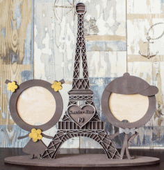 Laser Cut Wooden Eifel Tower Photo Frame Vector File Free CDR File