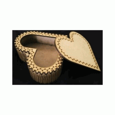 Laser Cut Wooden Heart Shape Box DXF File