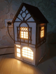 Laser Cut Wooden Home Lamp Puzzle Model Free DXF Vectors File