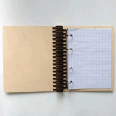 Laser Cut Wooden Notebook With Ring Mechanism Ring Binder A5 CDR File