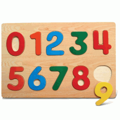 Wooden Peg Puzzle Toddlers Number Jigsaw Toys Educational Raised Puzzle Laser Cut CDR File