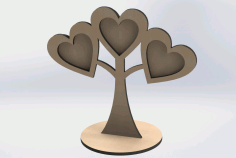 Laser Cut Wooden Photos Heart Shaped on Tree Frame Design DXF Vectors File