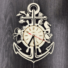 Laser Cut Wooden Pirates Clock Laser Cut Free CDR File
