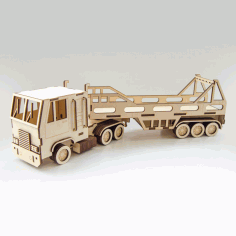 Laser Cut Wooden Tractor Trailer Truck Free CDR Vectors File