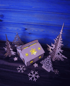 Laser Cut Wooden Village House CDR File