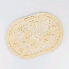 Laser Cut World Map Peg Jigsaw Puzzle Toy CDR File