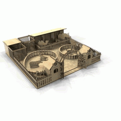 Laser Cut Zoo 3D Model Template Free Vector CDR File