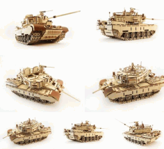 Laser Cutting T 34 Tank 3D Puzzle CDR File
