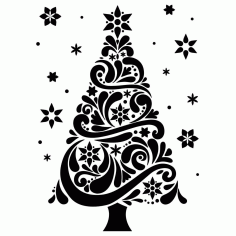 Laser Engraving Decor Christmas Tree Laser Cut CDR File