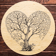 Laser Engraving Heart Shaped Tree Free CDR File