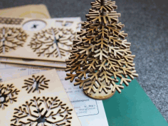 Lasercut design files for snowflake Christmas tree Vector DXF File