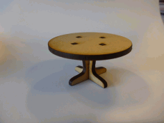 Lasercut Round Table for a Doll House Laser Cut DXF File