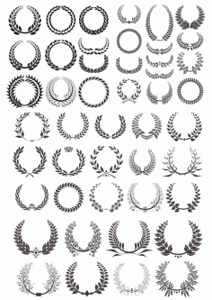 Laurel Wreath Vector Basic Black Collection Free Vector CDR File