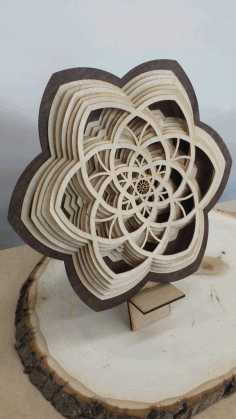 Layered Wooden Sculptures Flower Laser Cut DXF File
