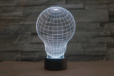 Light Bulb 3d Led Illusion Night Light Lamp Free CDR Vectors File