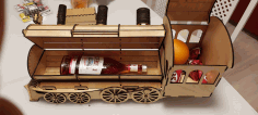 Locomotive Engine Wine Bottle Holder Gift Box Laser Cut DXF File