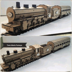 Locomotive Laser cutting 3d puzzle Free CDR Vectors File