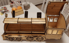 Locomotive Or Train Engine Wine Bottle Holder Gift Box Laser Cut DXF File