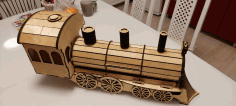 Locomotive Or Train Engine Wine Bottle Holder Gift Box Template Laser Cut DXF File