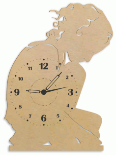 Lonely Girl Wall Clock Wall Decor Laser Cut CDR File
