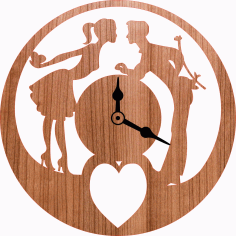 Love Romantic Couple Wall Clock Laser Cut CDR File