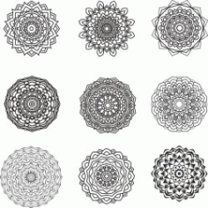 Mandala Design Set for Print Or Laser Engraving Machines DXF File