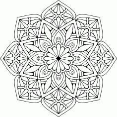 Mandala Floral Star Ornament CDR File