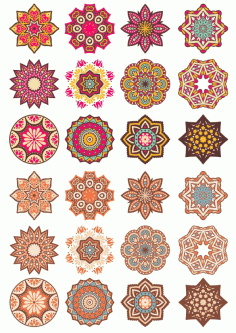 Mandala Pattern Doodle Round Ornaments Free CDR Vectors File