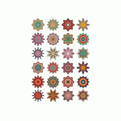 Mandala Pattern Doodle Round Ornaments CDR File