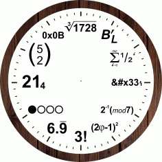 Mathematical Equations Wall Clock Laser Cut CDR File