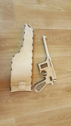 Mauser C96 With Wooden Holster Toy Gun Laser Cut Free CDR File