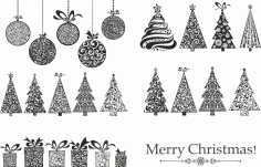 Merry Christmas Set Laser Cut CDR File