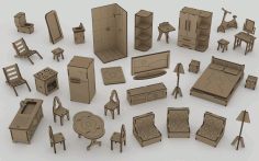 Mini Kit Furniture Dollhouse Laser Cut Mdf 3mm Free CDR Vectors File