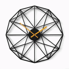 Modern Wall Clock Laser Cut Free CDR File