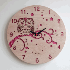 Modern Wall Clock Owl Free CDR Vectors File