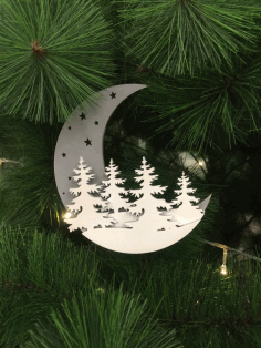 Moon Christmas Decoration Laser Cut CDR File