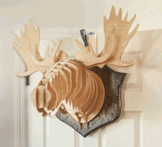 Moose Head Wall Mount Decor Template Laser Cut Free CDR File