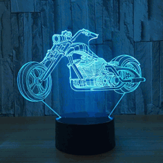 Motorcycle 3d Led Illusion Night Light Free CDR Vectors File