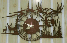 Mountains Deer Decorative Wall Clock Free DXF Vectors File