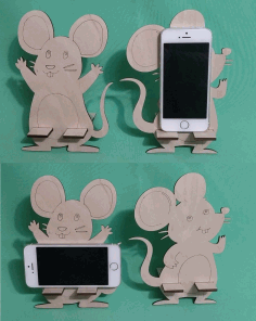 Mouse Mobile Phone Holder Creative Laser Cutting Template Laser Cut CDR File