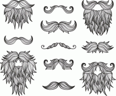 Moustaches Beard Set Free CDR Vectors File