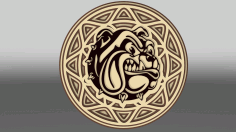 Multilayer Bulldog Wall Art Template Laser Cut Free CDR File