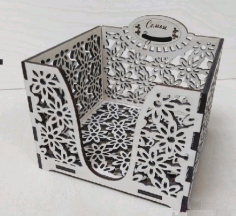 Napkin Holder Square Box Laser Cutting Template Free CDR Vectors File