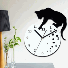 Naughty Cat Wall Clock Laser Cut Free CDR Vectors File